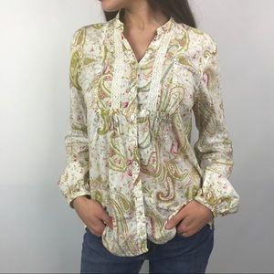 Boho Button Down Shirt with lace detail